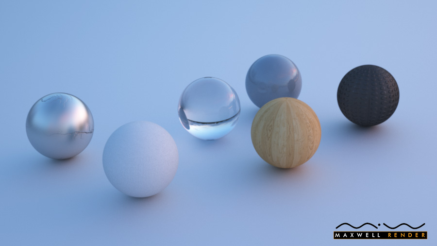 Materials test rendering created with Maxwell Render