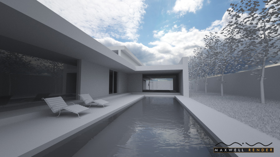 Architecture villa test in Maxwell Render